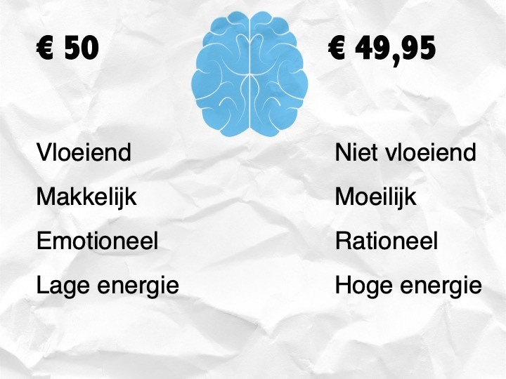 Psychologische prijzen: €50 euro komt over als vloeiend, makkelijk, emotioneel en heeft een lage energie. €49,95 komt over als niet vloeiend, moeilijk, rationeel en heeft een hoge energie.